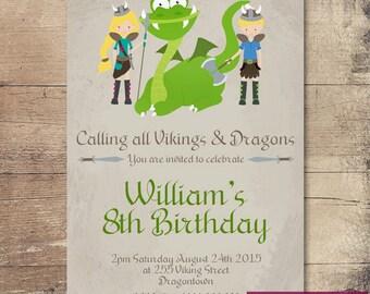 Printable Viking and Dragon Birthday Invitation / Customisable Digital File / JPG or PDF / Green