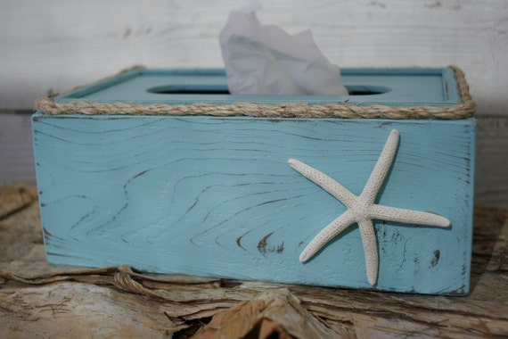 Tissue box cover holder rustic shabby chic beach ocean theme - Beach themed tissue box cover ...
