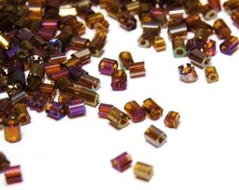 Short Bugle Beads 2mm - Brown AB
