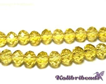 Faceted Glass Briolette Beads, Rondelle Beads 6mm -  Light Topaz