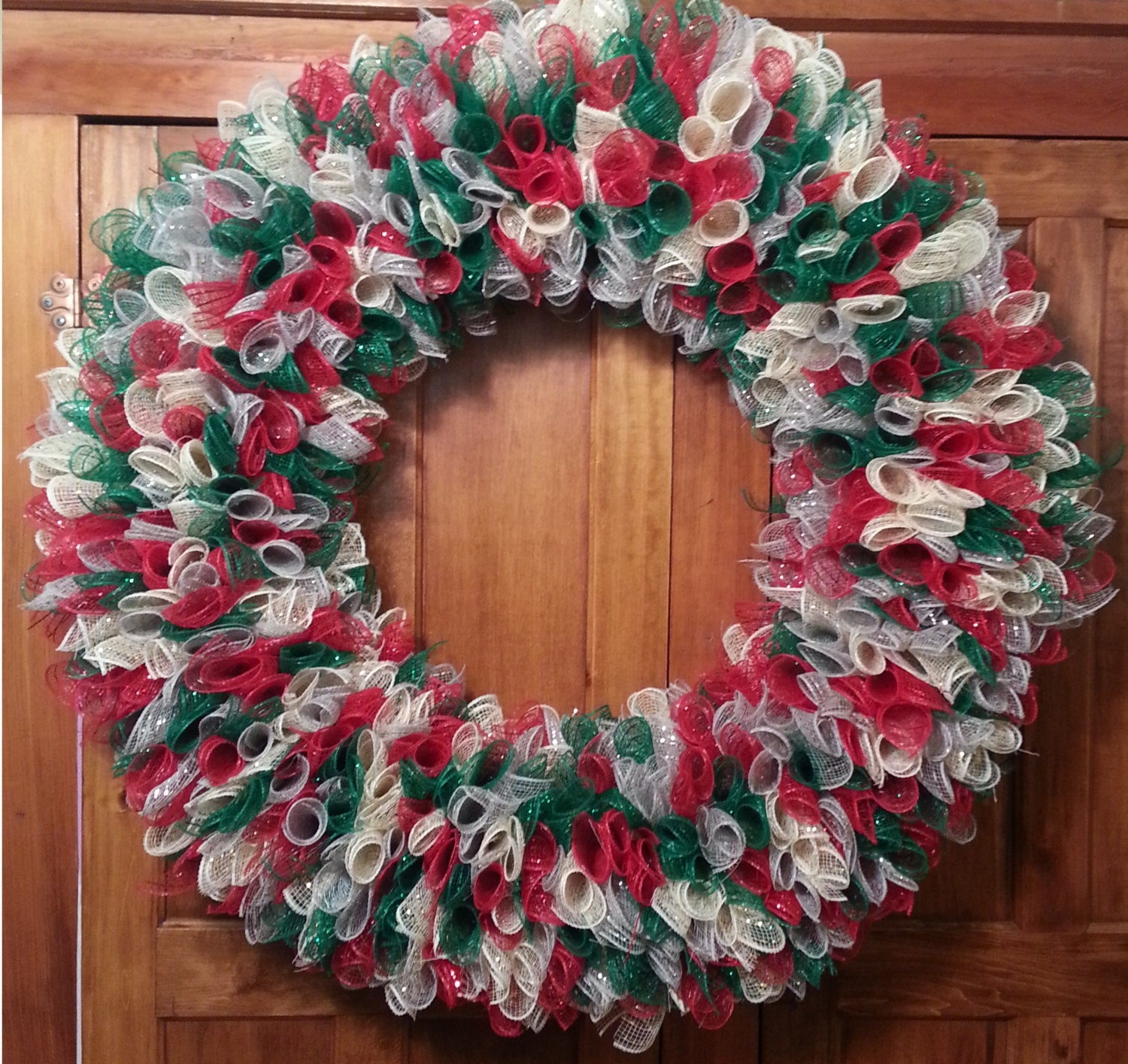 Large Deco Mesh Christmas Wreath Silver, Gold, Green and Red