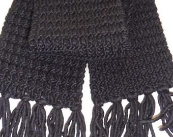 Handknit Black Scarf with Fringe for Kids