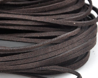 10 meters of  Dark brown Faux Leather Ribbon Cords String--- 2.5mm---S0219