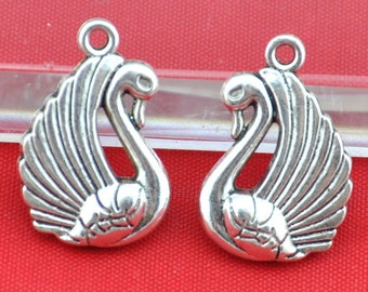 10pcs of  Antique Silver  Swan Charms Pendants Double Sided---16*23mm-----G1380