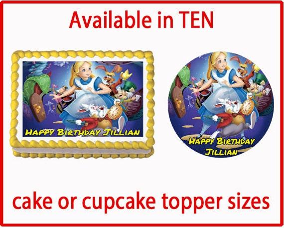 Edible Cake Decorations Alice In Wonderland : Alice in Wonderland Edible Cake Cookie or by CakeDesignShop