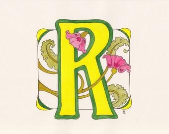 Monogram R - Art Deco Style