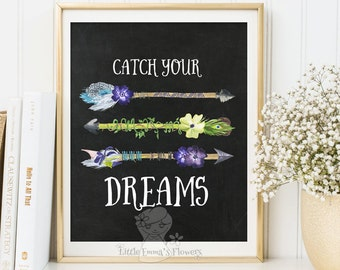 Nursery quote Catch your dreams print nursery print decor quote art nursery wall decor inspirational quote Kids Wall Art printable 173