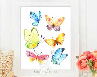 Butterfly Decor Nursery Wall Art Printable Butterflies Butterfly Print  Illustration Nursery Decoration Nursery Wall Art Instant