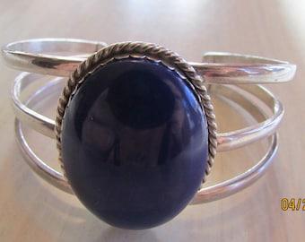 Sterling Silver Faux Lapis Cuff Bracelet