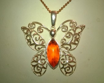 Honey Amber Butterfly Pendant Sterling Silver 925