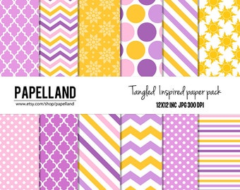 Tangled inpired digital paper pack  for scrapbooking,Making Cards, Tags and Invitations / Instant Download
