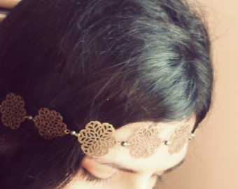 Headband flower watermark bronze appearance and anthracite Pearl