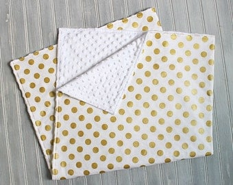 Baby Blanket- Gold Polka Dots and White Minky Blanket - Gender Neutral Minky Blanket - White with Metallic Gold Dots Receiving Blanket