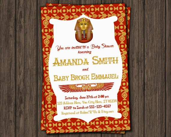 egyptian baby shower invitation egyptian theme by puggyprints