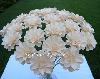 Ivory Stemmed Paper Flowers - 50 pcs - Made to Order - For Weddings, Centerpiece, Showers, Decorations