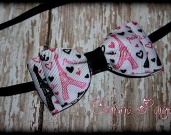 Paris Headband - Eiffel Tower Bow - Black Pink and White Headband -  I love Paris