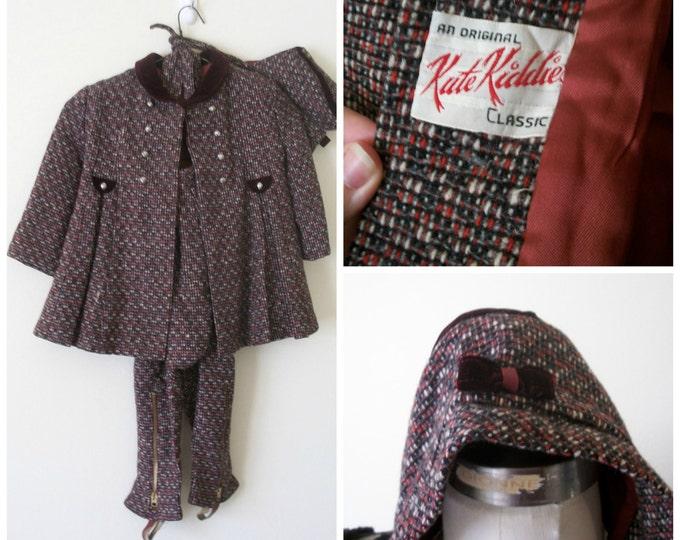 Featured listing image: 50s Girls Snowsuit, Three Piece Set, Kute Kiddies, Mid Century, 1950s, Vintage Snowsuit, Girls Size 4T, Size 5T, Kids Vintage Clothing