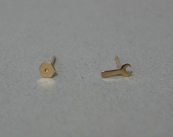 10K Solid Gold Tiny Spanner Wrench stud earrings, nut stud,10k Solid Gold - TG032