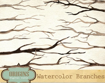 Watercolor Branches Clipart Set - PNG clip art, dead branches, tree branches, forest clipart instant download commercial use