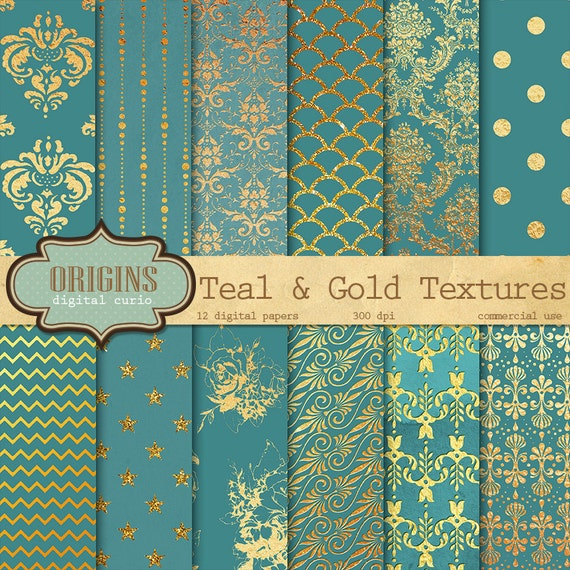 The Texture Of Teal And Turquoise: Teal And Gold Foil Textures 12 Pack By OriginsDigitalCurio