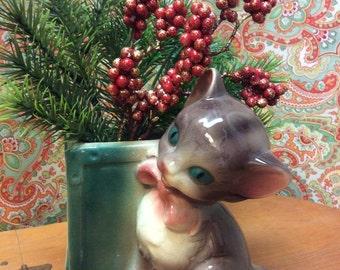 Vintage Royal Copley Cat Planter, Royal Copley, Cat Planter, Vintage Cat