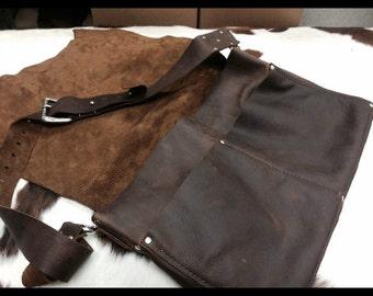 Distressed Leather Messenger Bag