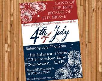 Freedom Fireworks 4th of July Party Invite (Memorial Day & Labor Available Too!) (Printable)