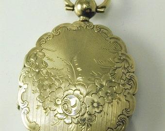 Mouring Locket Victorian Gold Front & Back Floral Design Dated 1852