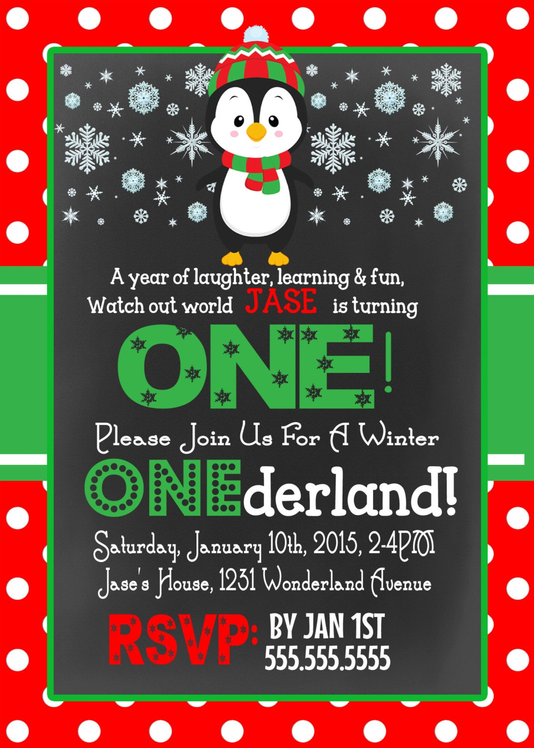 red green christmas birthday party invite, winter animal themed ...