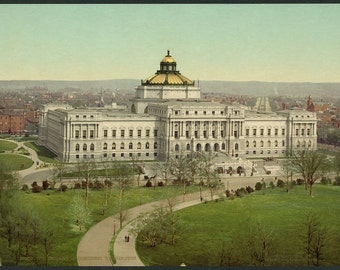 The Library of Congress, Washington 1902. Vintage photo postcard reprint 8x10-up. Library of Congress Thomas Jefferson Building