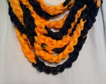 School Spirit Wear Infinity Rope Scarf, Black and Gold