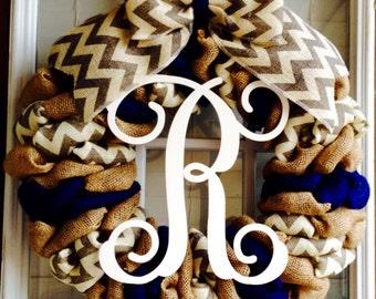 Burlap wreath - Monogram Wreath - Script Monogram - Door Wreath - Spring Wreath - Summer Wreath for door - Fall Wreath - Everyday Wreath