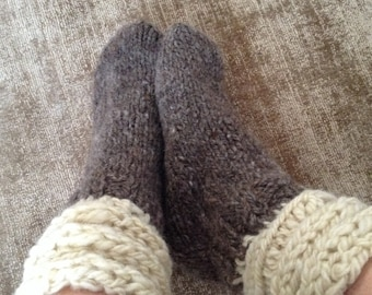 Slipper SOCKS Comfortably Loose Ideal for Swollen Ankles and Feet THICK WARM Hand-spun Sheep Wool Hand Wash & Dry Flat