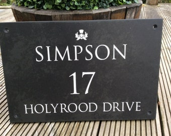 Slate Engraved Hand painted House Sign 350mm x 250mm