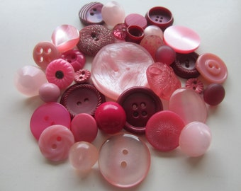 Cottage Chic vintage buttons. Shades of rose, pink, and burgundy. Lot 35 (2055)