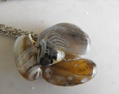 Translucent Blue Patterned Agate Pendant , Handmade Beach Stone Necklace