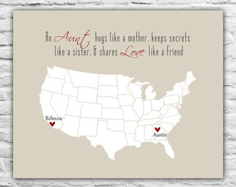 Mother's Day Gift For Aunt - Auntie Long Distance From Niece Gift Ideas for Aunt, Love Quotes Personalized State Map Just Because Miss You