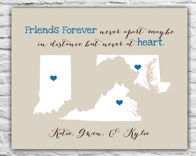 Gifts for Best Friends, Three Best Friends, Best Friend Long Distance, Personalized Maps, 3 Friends, Going Away, Moving Gift, Sisters Print