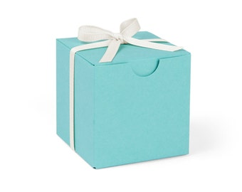 SALE // Robin's Egg Blue Favor Boxes with Ivory Ribbon // set of 10
