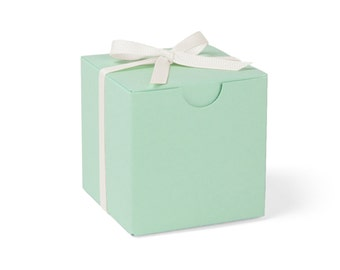 SALE // Mint Green Favor Boxes with Ivory Ribbon // set of 9