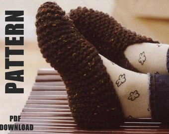 Slipper Socks, Ladies Slippers, Knitting Pattern, Ladies Basic Slipper, PDF Instant Download, Lounge Slippers