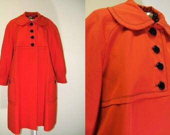 1960s Vintage Coat | Voyager West by Youthcraft | Red Orange Mod Coat | Large