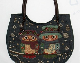 Owl tote bag medium Handbag Vintage Style Cotton purse Hobo bag shoulder bag