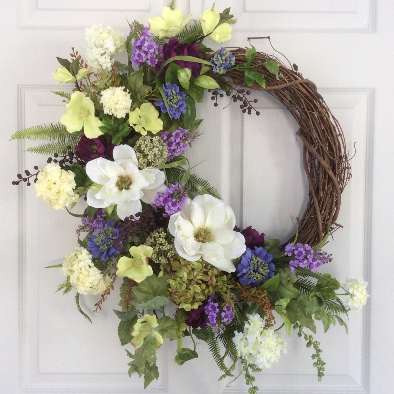 spring door wreath summer wreath front door wreath easter. Black Bedroom Furniture Sets. Home Design Ideas