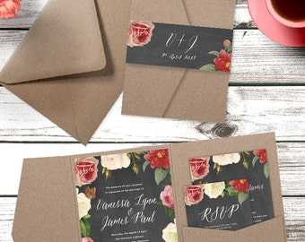 Eco Kraft Chalkboard Flowers Pocketfold Wedding Invitation Suite - Sample Pack or Deposit - Wedding Invitations by Pineapple