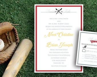 Elegant Formal Baseball Themed Sports Wedding Invitation Set Printable Printed Digital