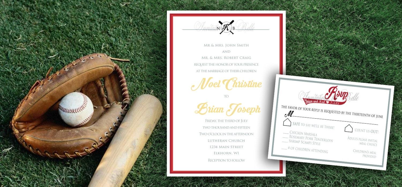 Baseball Wedding Invitation: Elegant Formal Baseball Themed Sports Wedding Invitation Set