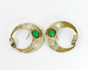 Rustic Green and Silver Earrings // Southwestern Earrings with Malachite and Sterling Silver in Rustic Style and Brilliant Green Cabochons