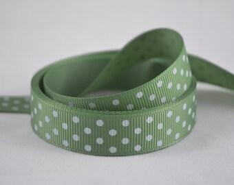 """5/8"""" (15mm) Light Sage Green with White Polka Dot Grosgrain Ribbon"""