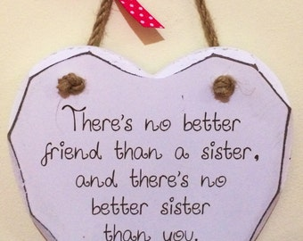 Sister and Friend Gift Chic Hand finished Wooden Hanging Heart Plaque *P9*